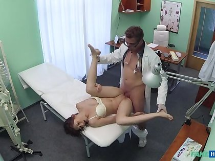 Doc pulls sexual connection toy from tight pussy