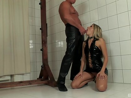BDSM video with maledom over Cherry Jul being whipped unchanging