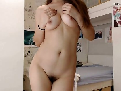 Naughty girlfriend masturbating in our living room