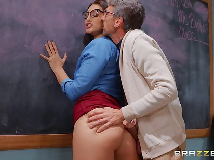 Devilish tutor Bella Rolland fucked on the table by her student
