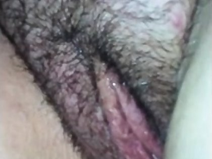 Fingering with the addition of bonking her fat hairy pussy