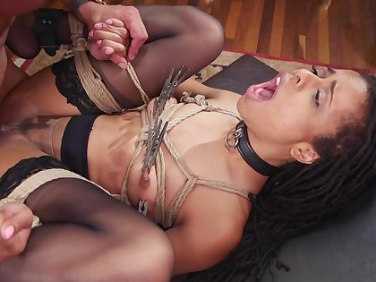 Deep interracial anal with an increment of vaginal for the slaved girls