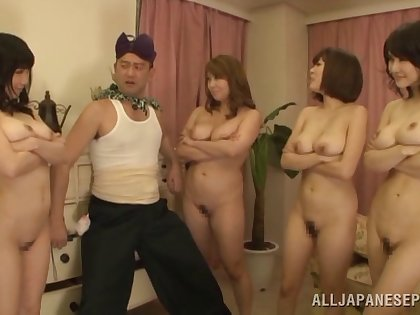 Lucky dude slides his dick in four wet Japanese pussies. HD