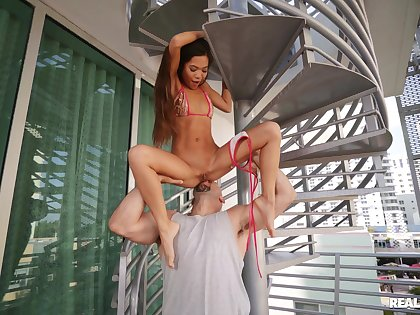 Asian honey rides the monster pole after a perfect foreplay