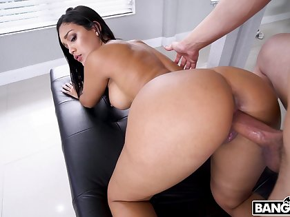 Delicious babe Alina Belle gets her ass oiled relating to and slammed hard