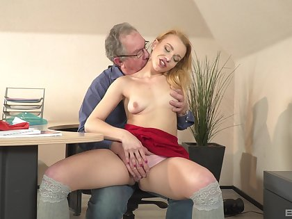 Old guy suits this wasting away babe with endless cock