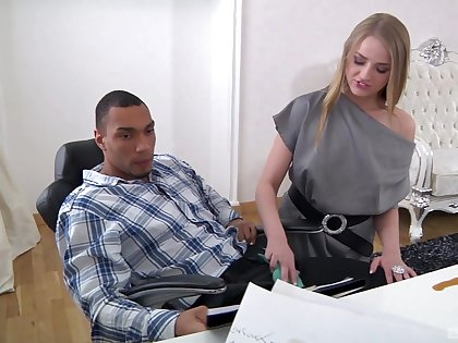 Slim office babe is keen to try the inky boss's big dong