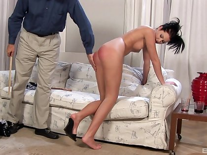 Naughty brunette jail-bait Belicia Avalos enjoys getting spanked