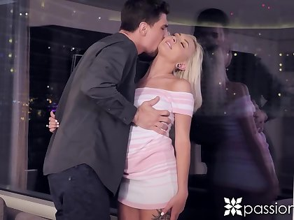 Fucking awesome babe in blue dress Chloe Temple is fucked by frying boyfriend