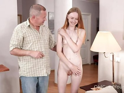 Skinny babe asks uncle for in reserve and gets a fuck